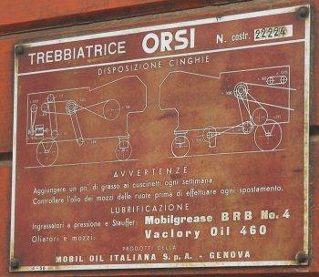 costruttore: Orsi Piestro & Figlio - Tortona - Alessandria - Italy modello: - anno di costruzione: anni '40 caratteristiche: trebbiatrice per cereali, battitore 110 cm, modello per grande produzione.